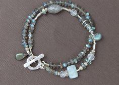 Labradorite, Aquamarine & Moonstone Bracelet; by TresJolieJewels