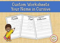 Learning how to write your name in cursive is easier with a worksheet that has your name on it! All you have to do is place your child's FIRST, MIDDLE, and LAST name in the personalization section when placing your order. ONE CHILDS NAME PER SET ORDERED Here are the worksheets that you will receive Learning To Write, Learning Resources, Teacher Resources, Teaching Ideas, Name Tracing Worksheets, Writing Worksheets, Learn To Spell, Learn To Count, Name In Cursive