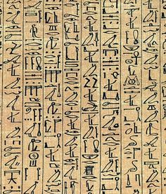 Cursive hieroglyphs in the Papyrus of Ani, a 1250 BC Book of the Dead manuscript.