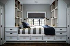 Built-in bed with storage - How to Sneak In Creative Guest-Room Storage : Laura Gaskill - houzz --- all of this storage would be great, though heavy, for a tiny house. Bed Storage, Bedroom Storage, Storage Drawers, Extra Storage, Bed Drawers, Storage Cart, Clothes Storage, Linen Storage, Storage Cabinets