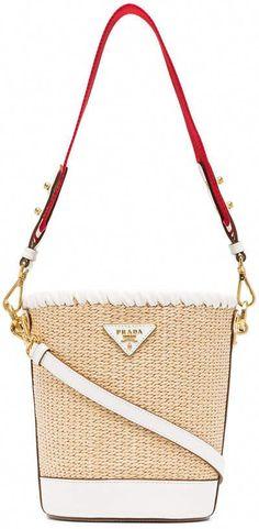 13fbadc1fb3d Prada White, Nude And Red Logo Raffia Bucket Bag Prada Bag, Prada Handbags,