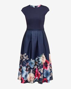Neon Poppy full skirted dress - Navy | Dresses | Ted Baker UK