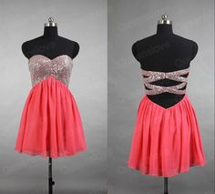 Short Coral Empire Prom Dresses,Sexy Mini Prom Dresses,Above Knee Cheap Prom…