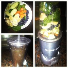 Best investment ever, apples, spinach,carrots,kiwi, blueberries and banana. #NutriBullet #nutriblast