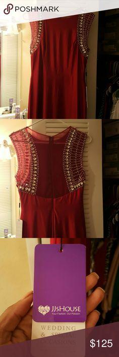 JJ House Burgundy Beaded Gown BURGUNDY Beaded Gown by JJ House Size 10 JJ House Dresses