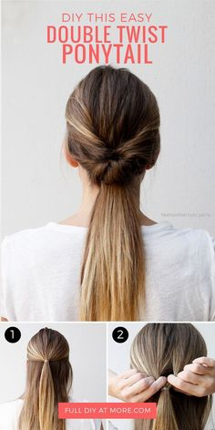 This double twist ponytail hair tutorial is the perfect hairstyle for going out,…  This double twist ponytail hair tutorial is the perfect hairstyle for going out, going to work, or running errands. Learn how to DIY this easy hai ..  http://www.fashionhaircuts.party/2017/06/20/this-double-twist-ponytail-hair-tutorial-is-the-perfect-hairstyle-for-going-out/