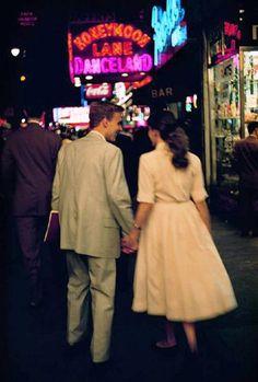Saturday night date, New York, 1957.