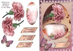 A beautiful card with a reflection of the  carnation in a puddle, pretty pinks, and a few labels that say Happy birthday, thinking of you, and get well soon.
