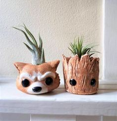 Groot inspired planter gift set, baby Groot gift, Rocket air plant holder, baby Groot, geeky gift, air plant gift set by RedwoodStoneworks on Etsy https://www.etsy.com/listing/537093459/groot-inspired-planter-gift-set-baby