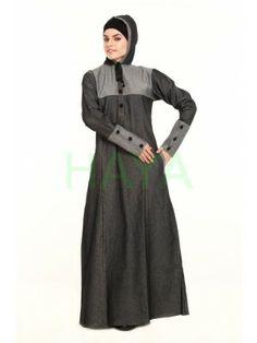 Cosy, comfy, classic and modest are the features that describe this winter abaya in denim. With simple design and neat cut, this abaya is sure to become your favourite outfit. Pick this winter abaya for $45.00 Denim Abaya, Islamic Swimwear, Islamic Clothing, Hijab Fashion, Simple Designs, Cosy, Sportswear, Stylish, Classic