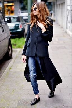 An open shirtdress layered over a pair of dress with a blazer on top. // #StyleTip