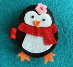 Penguin felt hair clip
