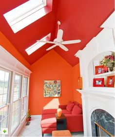 Orange room without the red ceiling bit with the white fan