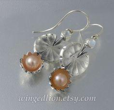 Pink Lotus, Lotus Flower, Ancient Egyptian Religion, Silver Earrings, Pearl Earrings, 925 Silver, Sterling Silver, Lotus Jewelry, Rainbow Moonstone