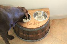 Wine Barrel Dog Bowl Feeder--wood gift inspiration