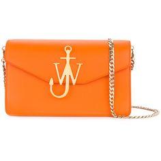 JW Anderson logo detail purse bag ($1,370) ❤ liked on Polyvore featuring bags, handbags, logo handbags, orange handbags, hand bags, purse bag and handbag purse