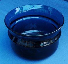 Hand Blown Blue Art Glass Bowl 1960 s/70 s