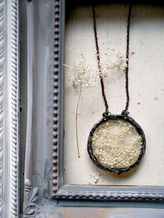 Soldered Glass Circle Babys Breath Pendant by Heronandlamb, $55.00