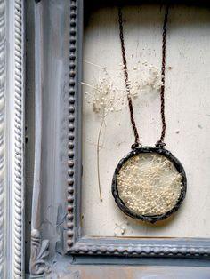 Soldered Glass Circle Baby's Breath Pendant by Heronandlamb, $55.00
