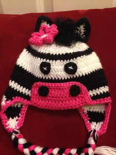 Crochet Zebra baby hat with ear flaps made by Dots of Love Creations   dotsoflovecreations@gmail.com