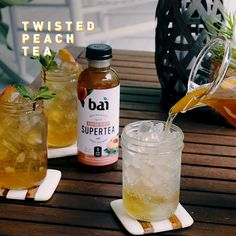 Create the most delicious Peach Tea cocktail recipe made with Bai this summer, which has only 5 calories and 1 gram of sugar. Create the most delicious Peach Tea cocktail recipe made with Bai this summer, which has only 5 calories and 1 gram of sugar. Tea Cocktails, Party Drinks, Fun Drinks, Alcoholic Drinks, Best Cocktail Recipes, Home Brewing Beer, Halloween Drinks, Drinks Alcohol Recipes, Summer Drinks