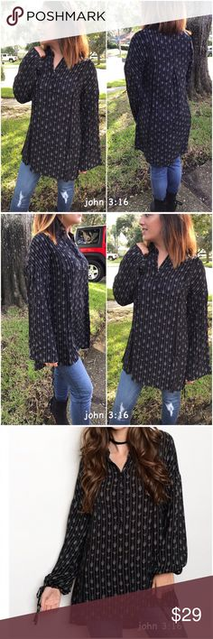 Chic long sleeve tops Long sleeve tribal print tunic tops...has ties at cuff and a pleat and crochet detailing on the back...looks great on and is very flattering. 100%rayon...Price is firm✔️ S(2/4) M(6/8) L(10/12) Tops Tunics
