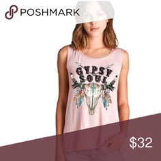 🌸Gypsy Soul Cattle tank top Pink Gypsy soul cattle print top. Material: Rayon and spandex. High quality material. Made with love in the USA 🇺🇸. Available in small, medium and large.                                    Add to bundle and save when purchasing. Tops Tees - Short Sleeve