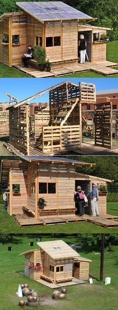 DIY Wooden Pallet House! What?! This is crazy cool! I would build this in my backyard for my kids lol
