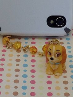 Cute Puppy Cellphone Charm, dust plug charm, iPhone plug charm, headphone jack. any devise that has a headphone jack can use this dust plug ($7.50 USD)