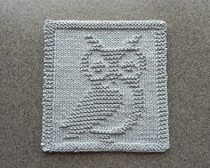 OWL Knit Wash Cloth or Dishcloth Light Gray by AuntSusansCloset