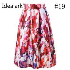 Summer Women Skirt Vintage Peach Blossom Floral Print High Waist Ball Gown Pleated Midi Skater Skirts
