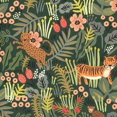 Rifle Paper - Jungle-What began as a small business based out of Anna and Nathan's apartment has quickly grown into a worldwide brand over the last four years. Rifle papers feature Anna's whimsical designs which often include hand-painted i Jungle Room, Rifle Paper, Surface Design, Craft Supplies, Whimsical, Craft Projects, Bryn Mawr, Hand Painted, Graphic Design