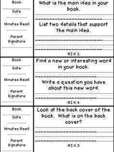 Kindergarten Weekly Reading Records w/ Comprehension Activ Weekly Reading Logs, Reading Record, Guided Reading, Teaching Reading, Learning, Reading Lessons, Reading Resources, Reading Activities, Reading Skills