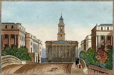 """Parish of St. Marylebone  Paroisse de Ste. Mary-le-Bone 1829  Marylebone gets its name from a church dedicated to St Mary, represented now by St Marylebone Parish Church (1817); the original church was built on the bank of a small stream or """"bourne"""", called the Tybourne or Tyburn"""