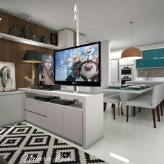 Sala de estar com tv giratória