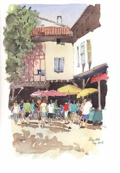 Market day at Mirepoix Pen And Watercolor, Watercolor Paintings, Urban Sketching, Teaching Art, Around The Worlds, Short Breaks, Drawings, Artist, Drawing Ideas