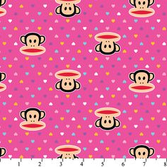 Paul Frank Julius and Mini Hearts on Pink by David Textiles monkey cotton novelty fabric Paul Frank, Textile Patterns, Textiles, Red Angry Bird, Novelty Fabric, Mini Heart, Paint Shop, Pink Fabric, Fleece Fabric