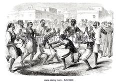 dance of the negroes and mulattoes in the streets of algiers Algeria 1865 - Stock Image
