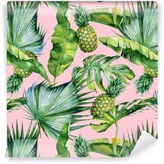 Vinyltapete Nahtlose Aquarellillustration von tropischen Blättern und von Ananas, dichter Dschungel. Muster mit tropischem Sommerzeitmotiv kann als Hintergrundbeschaffenheit, Packpapier, Gewebe, Tapetendesign verwendet werden.