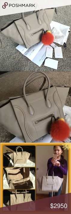😍Love Celine Small Luggage Phantom Beige Taupe Not new but Preloved. Comes with everything in the picture. This bag is too heavy for me. Trade value $3k Celine Bags Totes