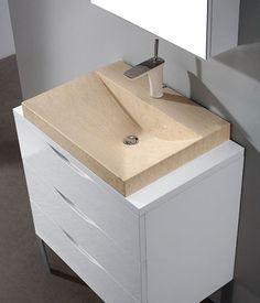Madeli Milano Vanity with Wood Countertop and Marble Basin Basin, Wood Countertops, Grey Wall Tiles, 30 Vanity, Brown And Grey, Wall Tiles, Bathroom Vanity, Flooring, Sink