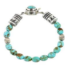 KINGMAN TURQUOISE OVAL BRACELET STERLING SILVER from New World Gems