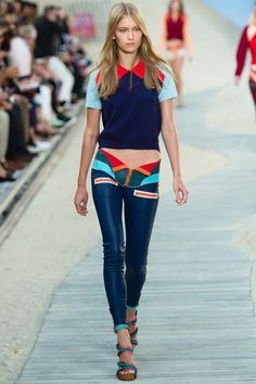 TREND: SPORTY Tommy Hilfiger  Style.com's Guide to the Spring 2014 Runway Trends - racer, racing wear, scuba suit, sporty, leather pants, sexy, navy, mint, brights, skinnies, sandals, runway, trendy