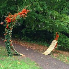 Ikebana Land Art installation bamboo Zen Gate exhibition in Belgian Mational Botanical Garden in Meise 2015 by Ekaterina Seehaus ikebanaPRO.com More