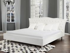 Łóżko białe - 160x200 cm - łóżko skórzane ze stelażem - METZ ✓ Kupuj bez ryzyka z odroczonym terminem płatności z gwarancją 365 dni na zwrot towaru