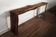 Custom furniture made from reclaimed wood and fallen trees. Live edge. | Wooden Waterfall Console