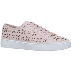 MICHAEL Michael Kors Keaton Cut Out Lace Up Trainers, Pale Pink (2.161.315 IDR) ❤ liked on Polyvore featuring shoes, sneakers, floral flat shoes, leather shoes, sports trainer, lace up flat shoes and floral print sneakers