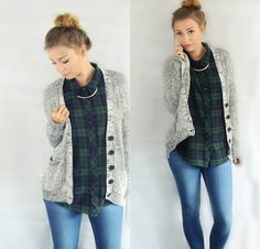 Get this look: http://lb.nu/look/7708694  More looks by Lou.ftblog: http://lb.nu/user/5218742-Lou-ftblog  Items in this look:  Forever 21 Knit Cardigan, Cubus Flannel, Vero Moda Denim Jeans, H&M Necklace   #casual #fall #cozy #comfortable #comfy #warm #backtoschool