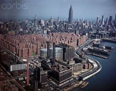 New York ...Aerial View of Manhattan, 1951, Photo by Charles E. Rotkin. Photo from Bettmann Corbis. This photo was probably largely intended to document the whole new development of Stuyvesant Town, which had been completed in the late 1940s as a symbol of Postwar recovery, triumph, and celebration, as it was conceived to accommodate many returning GIs from WWII.
