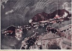 "lex-for-lexington: ""Battleship Row during the attack on Pearl Harbor, photograph taken from a Japanese aircraft. Pearl Harbor 1941, Pearl Harbor Hawaii, Pearl Harbor Attack, Naval History, Us History, Military History, Military Art, Uss Oklahoma, Day Of Infamy"